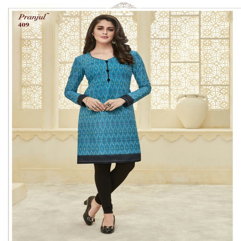 0275c67ab Light Blue and Multicolor Cotton Readymade Ladies cotton kurti
